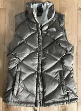 THE NORTH FACE Zip Womens Vest XS Brown White interior- 550 Down Insulation