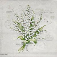 3 x Single Paper Napkins For Decoupage Lily Of The Valey Flowers Bunch Grey N134