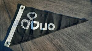 Vtg DUO Dbl Sided Pennant Flag - Taylor Made Black White Sailboat Yacht Maritime