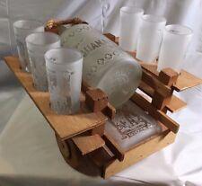 Extremely Rare Grupo Corona Decanter Set Wagon, Decanter, 6 glasses, & Ash Tray