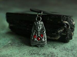 Pewter Pharaoh Tutankhamen Protection Amulet Necklace   Egyptian Jewellery