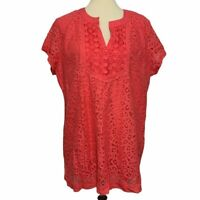 Isaac Mizrahi Live! Lace Short Sleeve Blouse Women's Sz XL