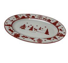 "Vintage Gluckstein Home Christmas Themed Oval Platter EUC 14' x 10"""