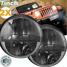 2X 7'' Inch Round High Low LED DIY Headlight for 1997-16 Jeep Wrangler JK CJ TJ