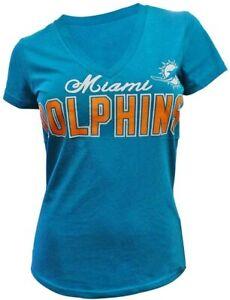 G-III 4her Miami Dolphins Women's Home Run V-Neck T-Shirt - Aqua