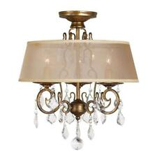 World Imports 15 in. 3-Light Antique Gold Flush Mount Chandelier WI197390