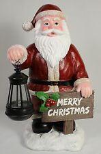 SANTA CLAUS MERRY CHRISTMAS w/ SOLAR LIGHT Holiday Yard Garden Door Xmas Lantern