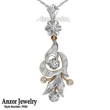 Russian Style Genuine Diamond Pendant in 14k Rose and White Gold 585 #P930