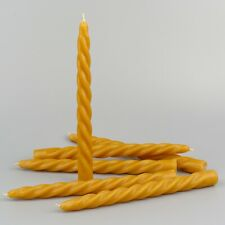 100% pure beeswax handmade taper dinner candles, box of 6, UK stock.