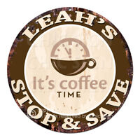 CWSS-0270 LEAH'S STOP&SAVE Coffee Sign Birthday Mother's Day Gift Ideas