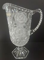 Vintage Handcut Crystal Pitcher Floral Pattern Frosted Roses - West Germany