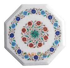 """12"""" White Marble Side Coffee Table Top Gemstone Floral Inlay Kitchen Decors W142"""