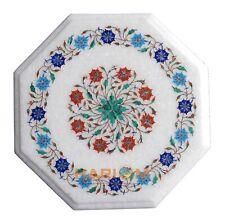 "12"" White Marble Side Coffee Table Top Semi Gemstone Pietradura Patio Decor H032"