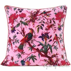 """20"""" Pink Velvet Floral Flower Bird Colorful Throw Sofa Cushion Couch Pillow Cove"""