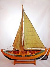 Large Vintage Handmade Sailboat Nautical Wooden Sloop Pond Model Cloth Sails
