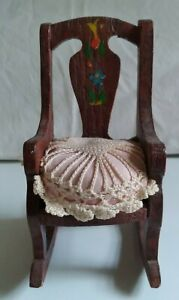 """6 1/2"""" wood rocker with decorative padded pin cushion seat or doll chair"""