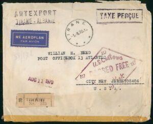 Mayfairstamps Albania 1970 Artexport Tirane Registered NJ USA Cover wwo_00907