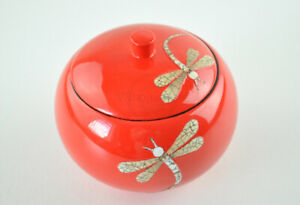 Decorative Handmade Lacquer Eggshell Inlaid Wooden Round Box, Small Jar Red H041