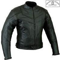 BATMAN STYLE SMART FIT MENS ARMOURED MOTORBIKE / MOTORCYCLE LEATHER JACKET