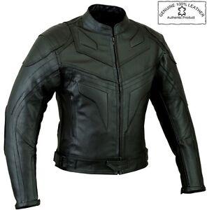 BATMAN STYLE SMART FIT MENS ARMOURED MOTORBIKE / MOTORCYCLE LEATHER JACKET