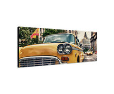150x50cm Vintage Taxi Panorama gelb Auto Manhattan New York Leinwand Sinus Art