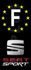 "Stickers Plaque D'immatriculation Fond Noir ""SEAT SPORT"" 2 pièces ""F"" 100x45 mm"