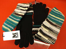 NWT MISSONI WINTER WOOL BLACK KNIT MULTICOLOR LONG GLOVES  ITALY