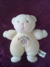 Doudou  ours blanc fleur rose LUMINOU GRELOT 17CM