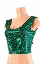 MEDIUM Green Shattered Glass Holographic Spandex Crop Tank Top Ready To Ship!