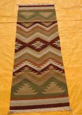 Large Wool Kilim Navajo Southwestern Bohemian Runner Rug 2'6''x7' ft
