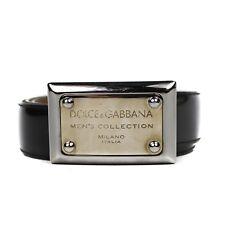 Dolce and Gabanna Belt Men's Black Patent Leather - Silver Gold Buckle Logo 36