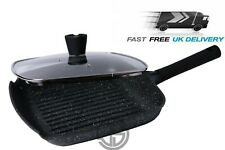 28CM Non Stick Grill Pan With Lid Granite Marble Coated Frying Pan Gas Induction