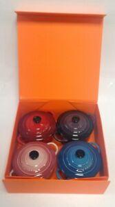 Set Of 4 Le Creuset Lidded Casserole Pots,4 Colours In Presentation Box #55632
