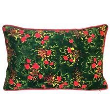 "Velvet/Faux Silk Emerald Green Floral 12""x20"" Lumbar Pillow Case/Cushion Cover"