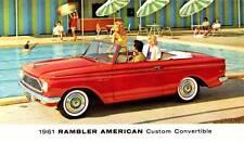 Old Print.  Red 1961 Rambler American Custom Convertible Auto