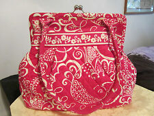 "Vera Bradley-TWIRLY BIRDS PINK ""ALICE"" KISS LOCK PURSE-COTTON-11 3/4"",13 1/2"".9"""