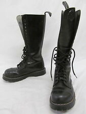 Women's Grinders Black Leather Calf High Lace Up Combat Style Boots, Size 6
