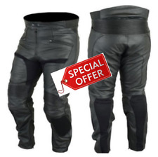 RKSPORTS MENS BLACK 1265 LEATHER COWHIDE MOTORCYCLE MOTORBIKE JEANS TROUSERS