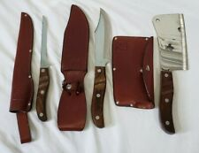 Ekco Arrowhead Collection Ehp Hunting Knife Set Fillet Bowie Cleaver Leather