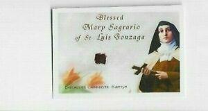 LAMINATED PRAYER BOOK RELIC CARD: BL. MARY SAGRARIO of ST LUIS GONZAGA, martyr