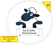 70 Eid Al-Adha Mubarak NON PERSONALISED  Labels Stickers Gift sweet Cone Bags