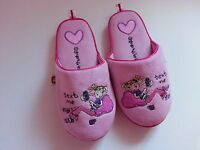 *GIRLS TEXT ME ( BANG ON THE DOOR ) PINK SLIPPERS UK SIZE 10/11 , 12/13 , 1/2 *