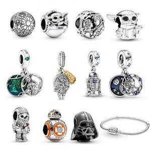 New 925 Sterling Silver Star Wars Disney Charms Bracelet Yoda Fit Bracelet Women