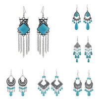 Turquoise Earring Hook Women Antique Boho Jewelry Vintage Ear Silver Dangle Hoop