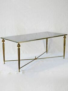 """Mid century glass and brass coffee table with twisted tapered legs 39½"""" x  19¼"""""""