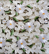 """Field of Daisies Lace 33"""" Square Table Topper Flower White Floral"""