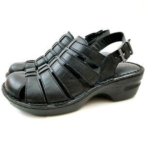Womens 8 M Born BOC Pollina Clog Black Comfort Slingback Sandals Shoe Wedge Heel