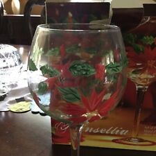 Set Of Four Hand painted Poinsettia 16 Ounce Goblets