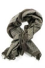 Dries Van Noten Brown Printed Knit Wide Fogal Scarf New 78642
