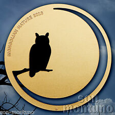 2016 Mongolian Nature - EAGLE OWL - 1/2 Oz Sterling Silver 24K Gold Gilded Coin